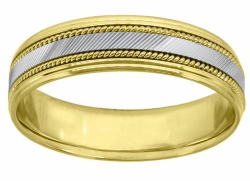 14kt Gold Two-tone Center Diagonal Cuts Side Twisted Rope Step Edges Band 75967