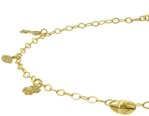 10kt Yellow Gold Womens Polished Finish Fashion Anklet Size: 10 Inches 78536