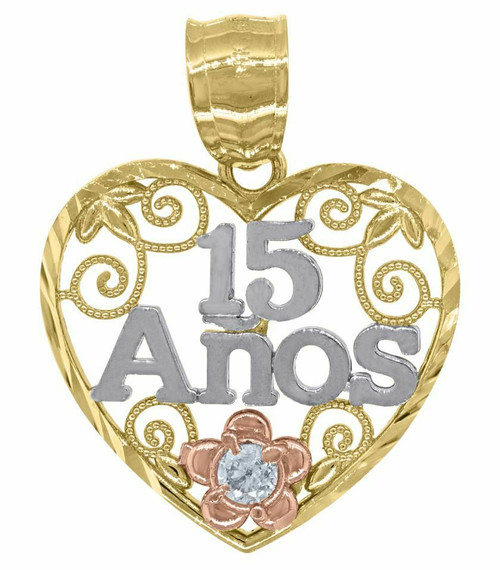 14kt Gold Tri-color Diamond Cut SD 15 Anos Quinceanera Pendant Charm 82588