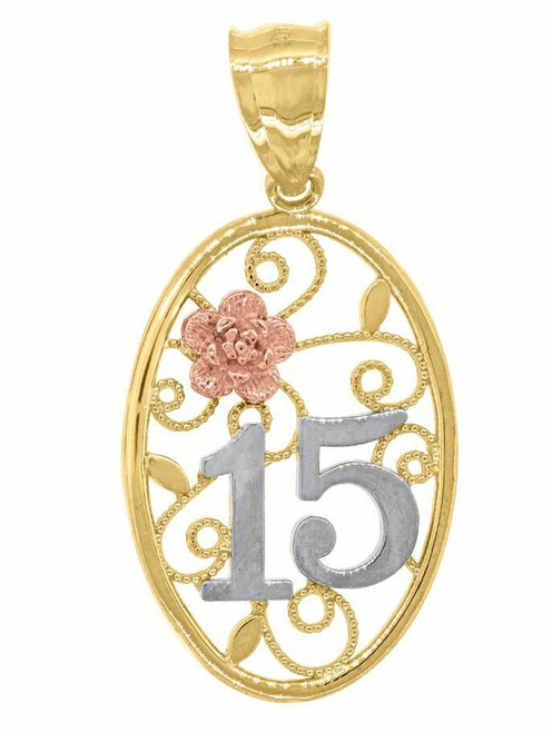14kt Gold Women's Tri-color 15 Anos Oval Quinceanera Pendant Charm 82601