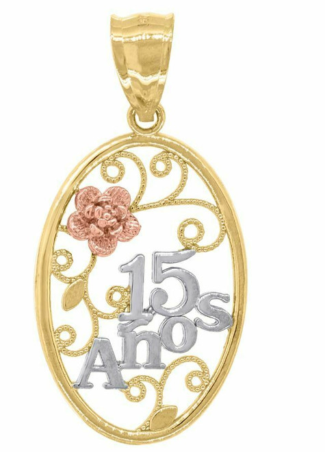 14kt Gold Women's Tri-color 15 Anos Oval Quinceanera Pendant 82600