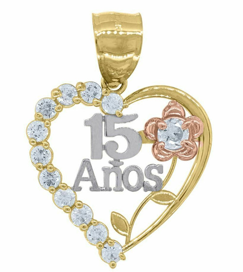 14kt Gold Womens Tri-color SD Heart 15 Anos Quinceanera Pendant Charm 82589
