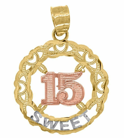 14kt Gold Tri-color Diamond Cut 15 Anos Sweet Round Quinceanera Pendant 82597