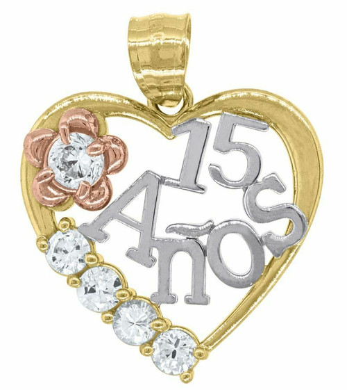 14kt Gold Womens Tri-color SD Heart 15 Anos Quinceanera Pendant Charm 82585