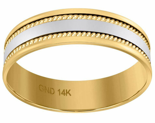 14kt Gold Mens Two-tone Braided Rope Sides Center Polished Band 72302