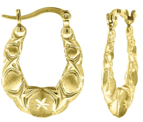 10kt Yellow Gold Womens Polished Finish Oval Hoop Earrings