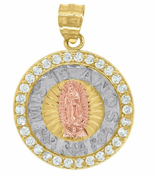 14kt Gold Womens Tri-color SD Mis 15 Anos Medallion Quinceanera Pendant 82578-79