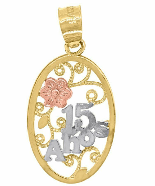 14kt Gold Women's Tri-color 15 Anos Oval Quinceanera Pendant 82599
