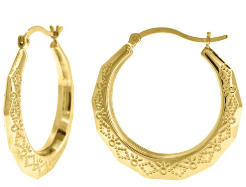 10kt Yellow Gold Women's Polished Finish Textured Hoop Earrings 68355