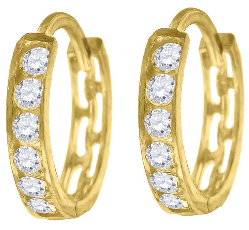 10kt Yellow Gold Womens Simulated Diamond Polished Finish Hoop Earrings 69370