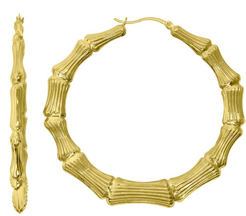 10kt Yellow Gold Womens Polished Finish Bamboo Hoop Earrings