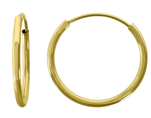 14kt Yellow Gold Unisex Polished Huggie Hoop 16mm Endless Closure Earrings