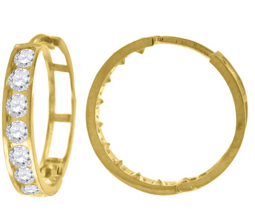 10kt Yellow Gold Womens Simulated Diamond Polished Finish Hoop Earrings