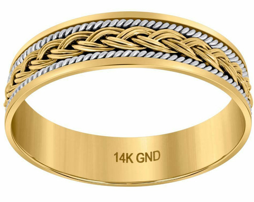 14kt Gold Mens Two-tone French Braid Center Twisted Rope Sides Band 75179