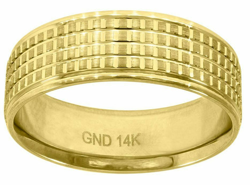 14kt Yellow Gold Men's Diamond Cut Check Design Step Edges  Band 78221