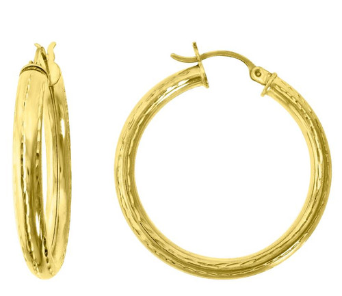 10kt Yellow Gold Women's Polished Finish Textured Hoop Earrings 78072