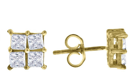 10kt Yellow Gold Two-tone Princess Cut SD Mens Square Push Back Studs