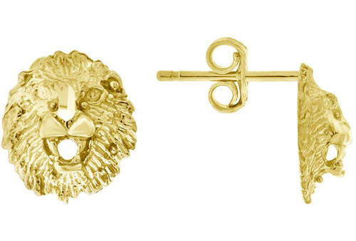 10kt Yellow Gold Diamond Cut Mens Lion Face Push Back Studs 72447