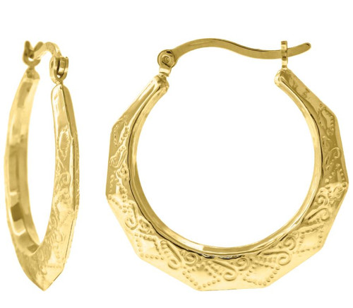 10kt Yellow Gold Women's Textured Polished Finish Hoop Earrings 68356