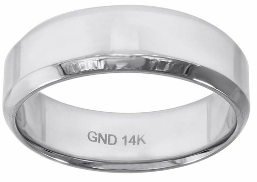 14kt White Gold Men's Polished Beveled Edges Eternity Wedding Ring Band 78361