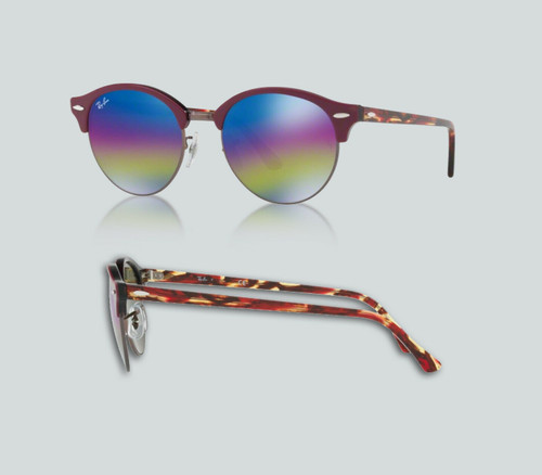 Authentic Ray Ban 0RB4246 CLUBROUND 1222C2 TOP BORDEAUX ON TRASPARENT Sunglasses