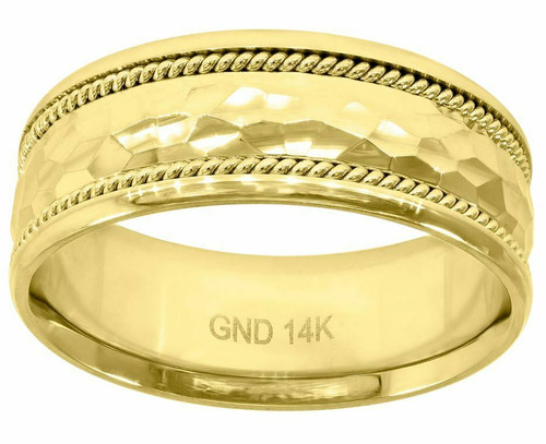 14kt Yellow Gold Men's Faceted Wedding Band Comfort Fit 78228