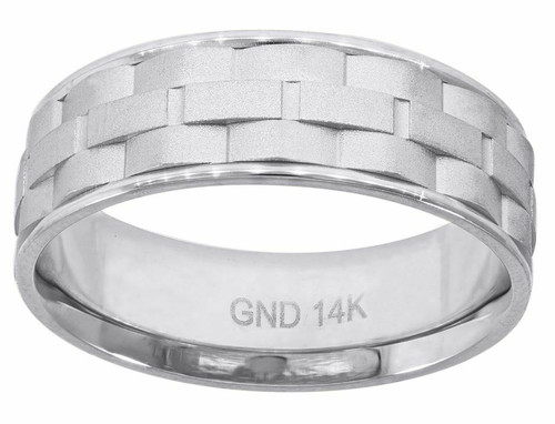 14kt White Gold Men's Brick Pattern Step Edges Band 78243