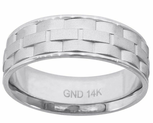 14kt White Gold Men's Brick Pattern Step Edges Band 78245