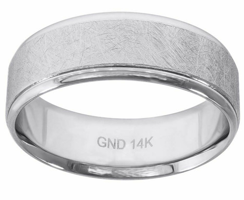 14kt White Gold Rough Finish Rustic Step Edges Wedding Engagement Band 78254