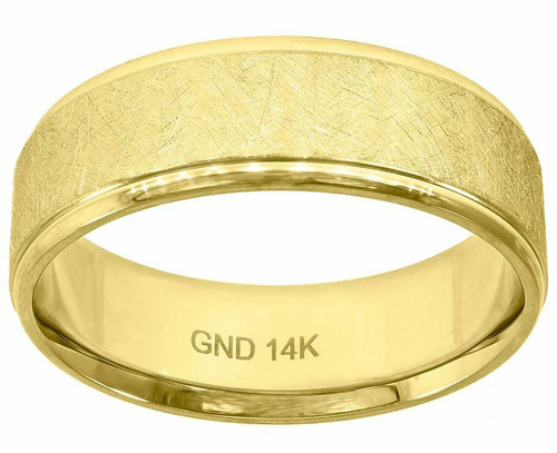 14kt Gold Men's Rough Finish Rustic Step Edges Wedding Engagement Band 78213