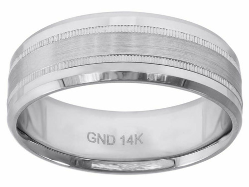 14kt White Gold Center Brushed Migraine Polished Beveled Edges Ring Band 78324