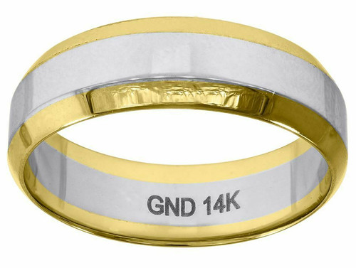 14kt Yellow Gold Men's Two-tone Polished Beveled Edges Ring Band 78287