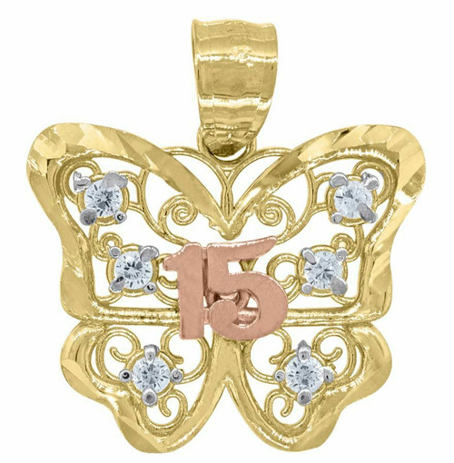 14kt Gold Tri-color Diamond Cut SD 15 Anos Butterfly Quinceanera Pendant 82591