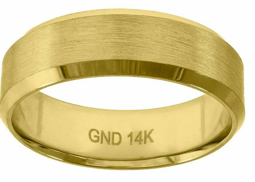 14kt Gold Men's Center Brushed Sides Polished Beveled Edges Ring Band 78278