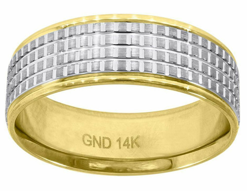 14kt Gold Men's Two-tone Diamond Cut Check Design Step Edges Band 78385