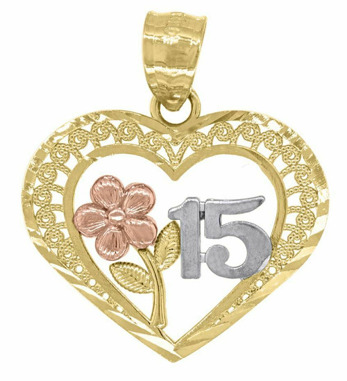 14kt Gold Womens Tri-color DC Heart 15 Anos Quinceanera Pendant Charm 82590