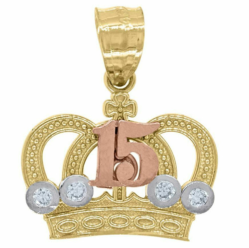 14kt Gold Womens Tri-color SD 15 Anos Crown Quinceanera Pendant 82593