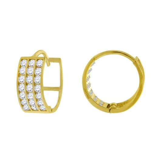 14kt Yellow Gold Simulated Diamonds Hoop Earrings 11.3 mm