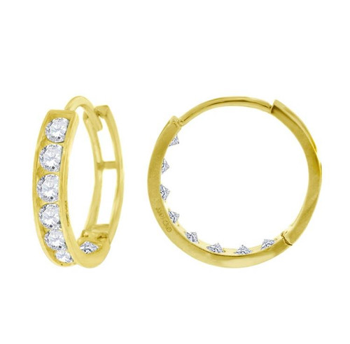 14kt Yellow Gold Simulated Diamonds Hoop Earrings 12.6 mm