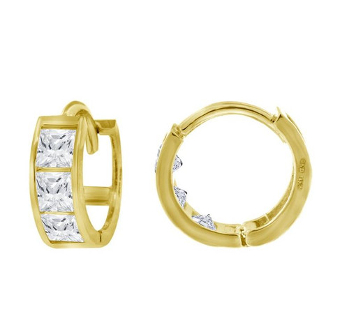 14kt Yellow Gold Simulated Diamonds Hoop Earrings 8.2 mm