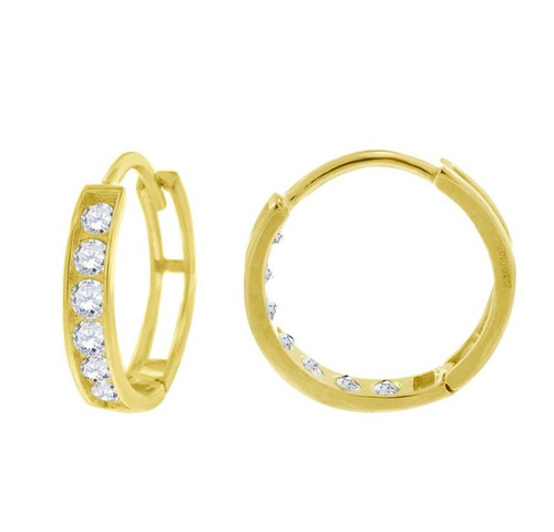 14kt Yellow Gold Simulated Diamonds Hoop Earrings 12.4 mm