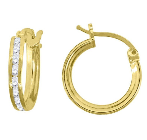 14kt Yellow Gold Simulated Diamonds Hoop Earrings 13 mm