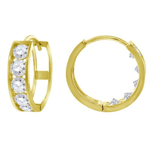 14kt Yellow Gold Simulated Diamonds Hoop Earrings 13.8 mm