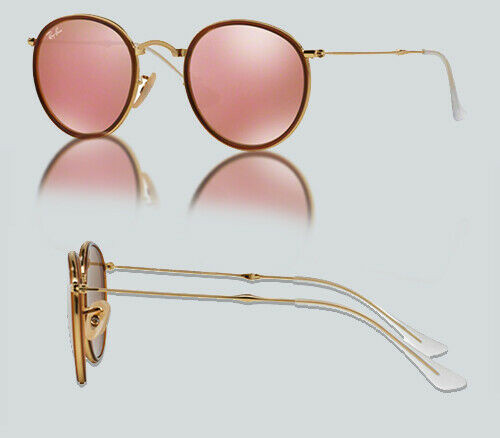 Authentic Ray Ban 0RB3517 ROUND 001/Z2 GOLD Sunglasses