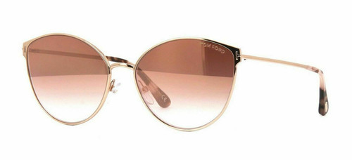 Authentic Tom Ford FT 0654 Zeila 33Z Rose Gold/Pink Shaded Mirror Sunglasses