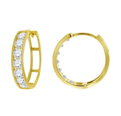 14kt Yellow Gold Simulated Diamonds Hoop Earrings 18.3 mm