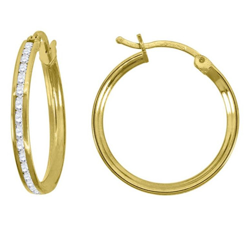 14kt Yellow Gold Simulated Diamonds Hoop Earrings 20 mm