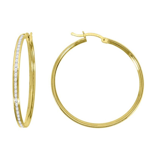 14kt Yellow Gold Simulated Diamonds Hoop Earrings 32 mm