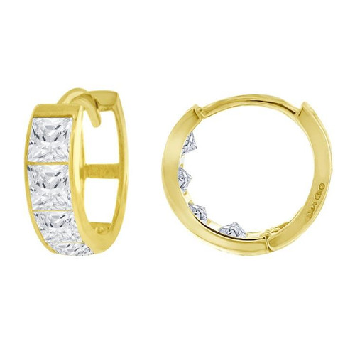14kt Yellow Gold Simulated Diamonds Hoop Earrings 10.2 mm