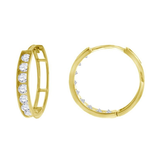 14kt Yellow Gold Simulated Diamonds Hoop Earrings 14.8 mm